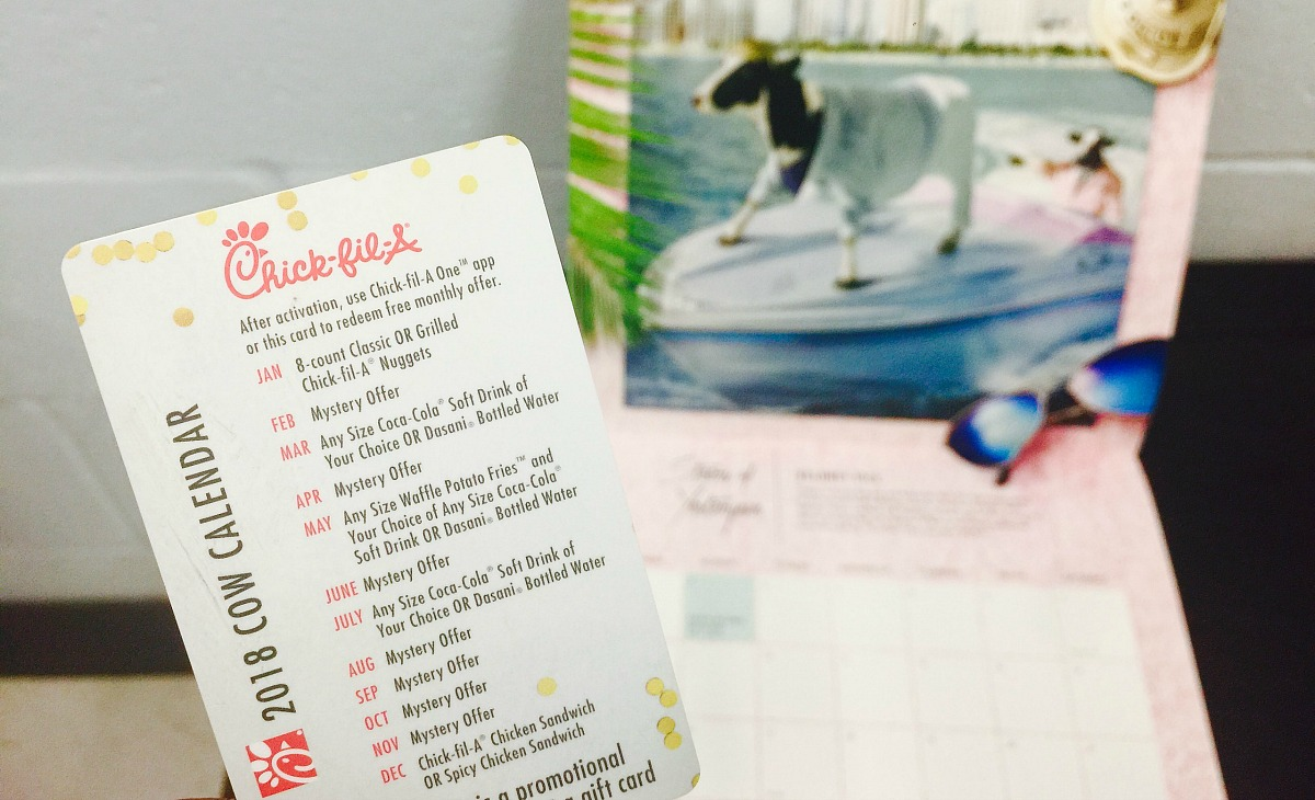 chick-fil-a is one of the best fast food chains out there – chick-fil-a cow calendar with promotion card