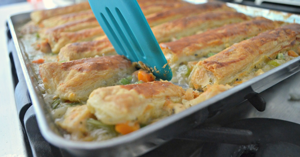 Sheet Pan Chicken Pot Pie - in the pan, ready to be served