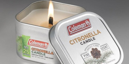 Coleman Scented Citronella Candles w/ Wood Crackle Wick Just $2.94 on Walmart.com
