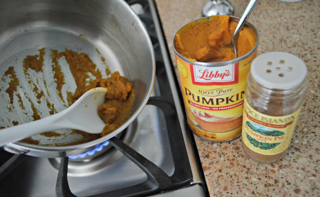 cooking pumpkin puree on stove