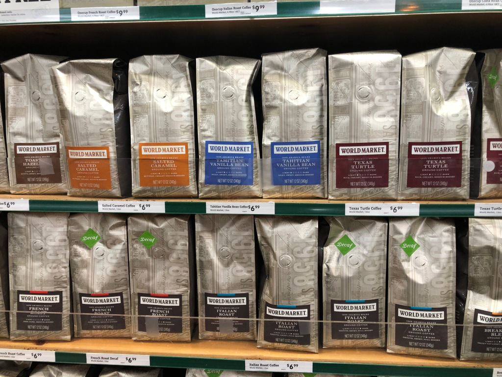 rows of cost plus world market coffee on store shelf