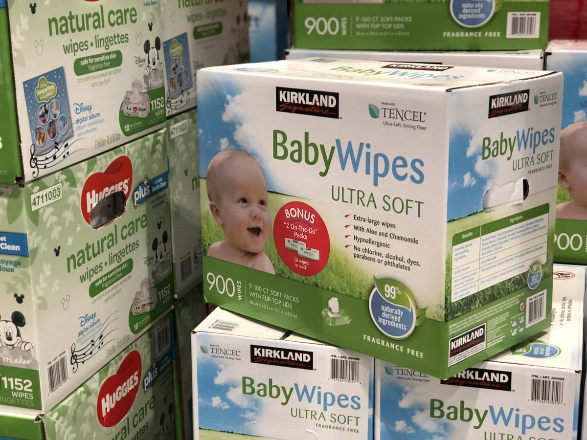 name brands sometimes make costco items, like these Costco baby wipes
