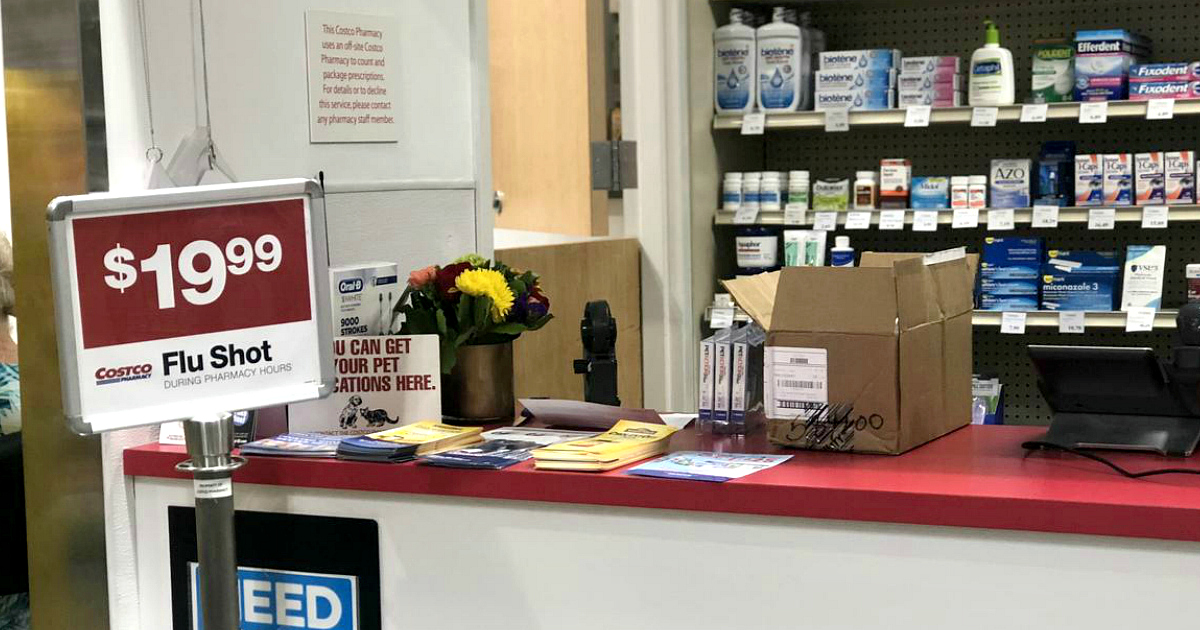 Costco offering affordable flu shots sign