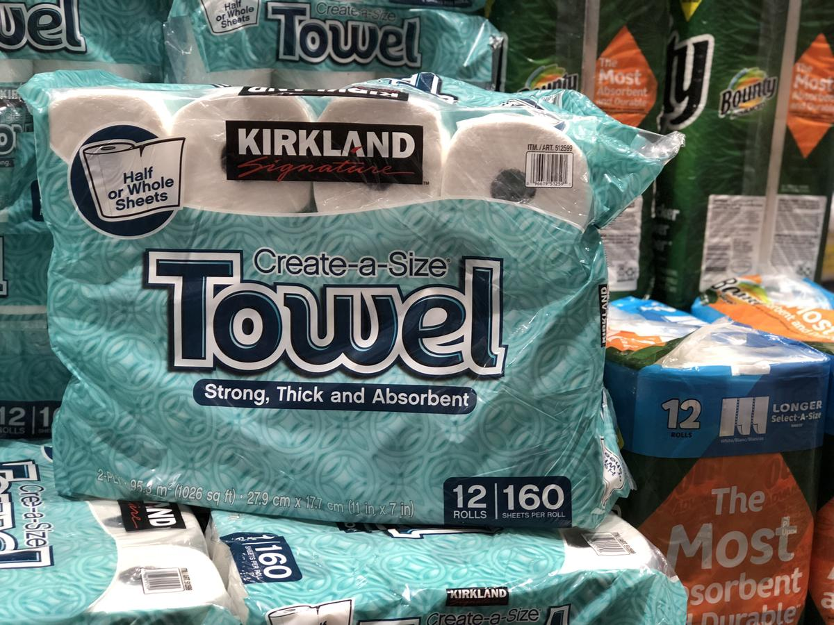 name brands sometimes make costco items, like these Kirkland Signature paper towels