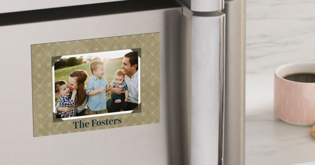 photo magnet on fridge