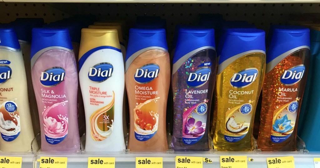 dial body wash on shelf