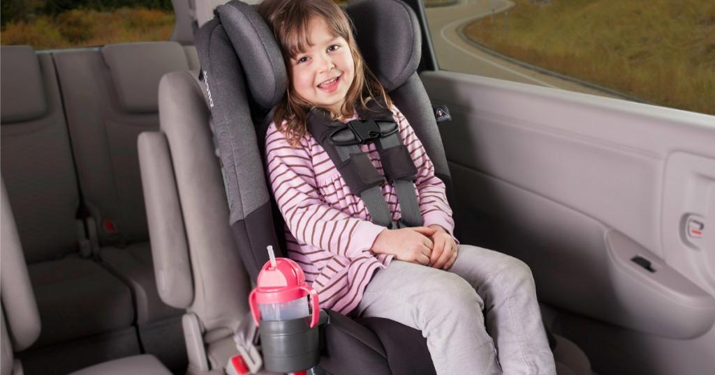 girl riding in diono car seat