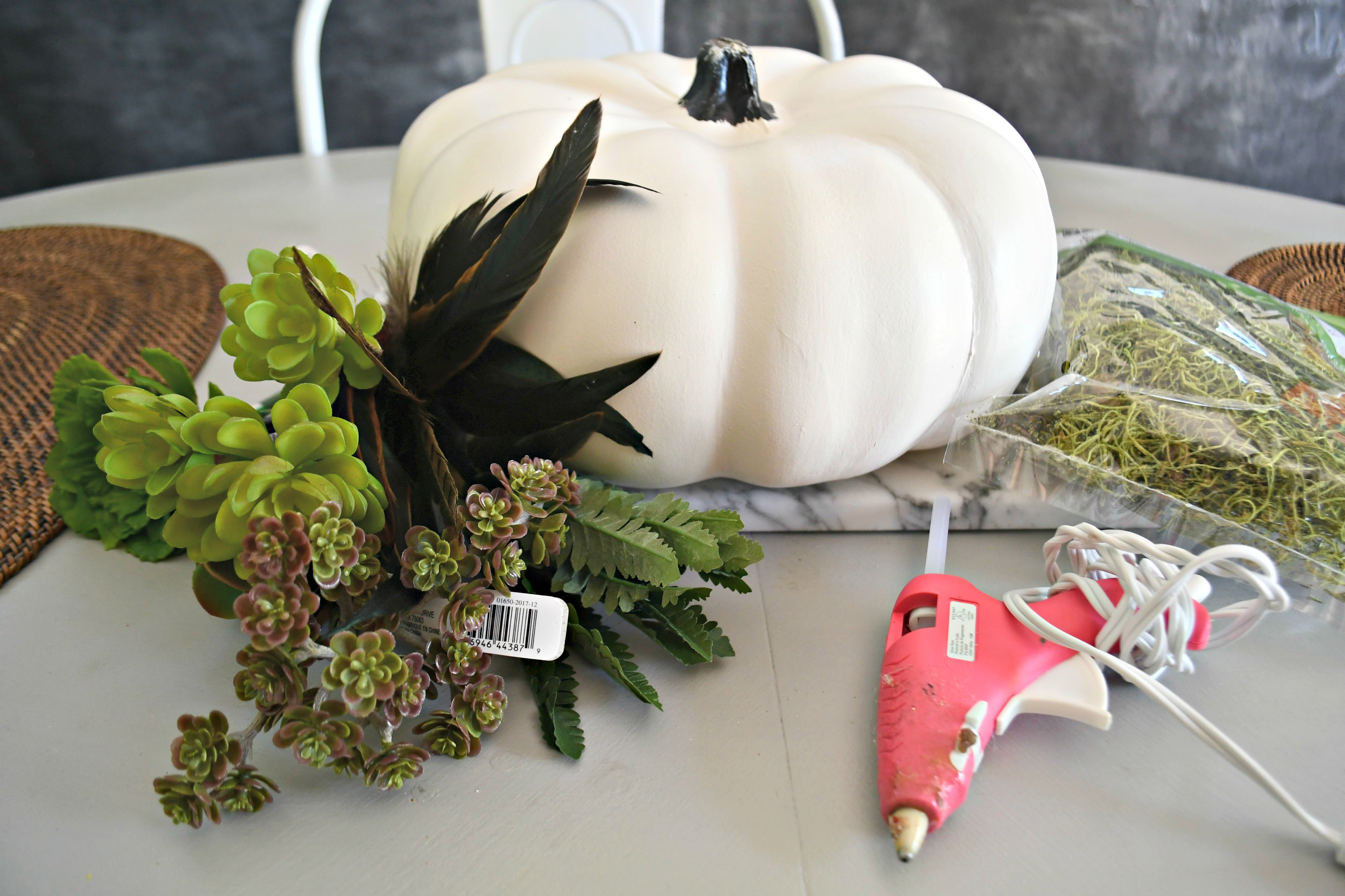 style your fall table with this DIY succulent centerpiece idea - here, the supplies needed for the pumpkin