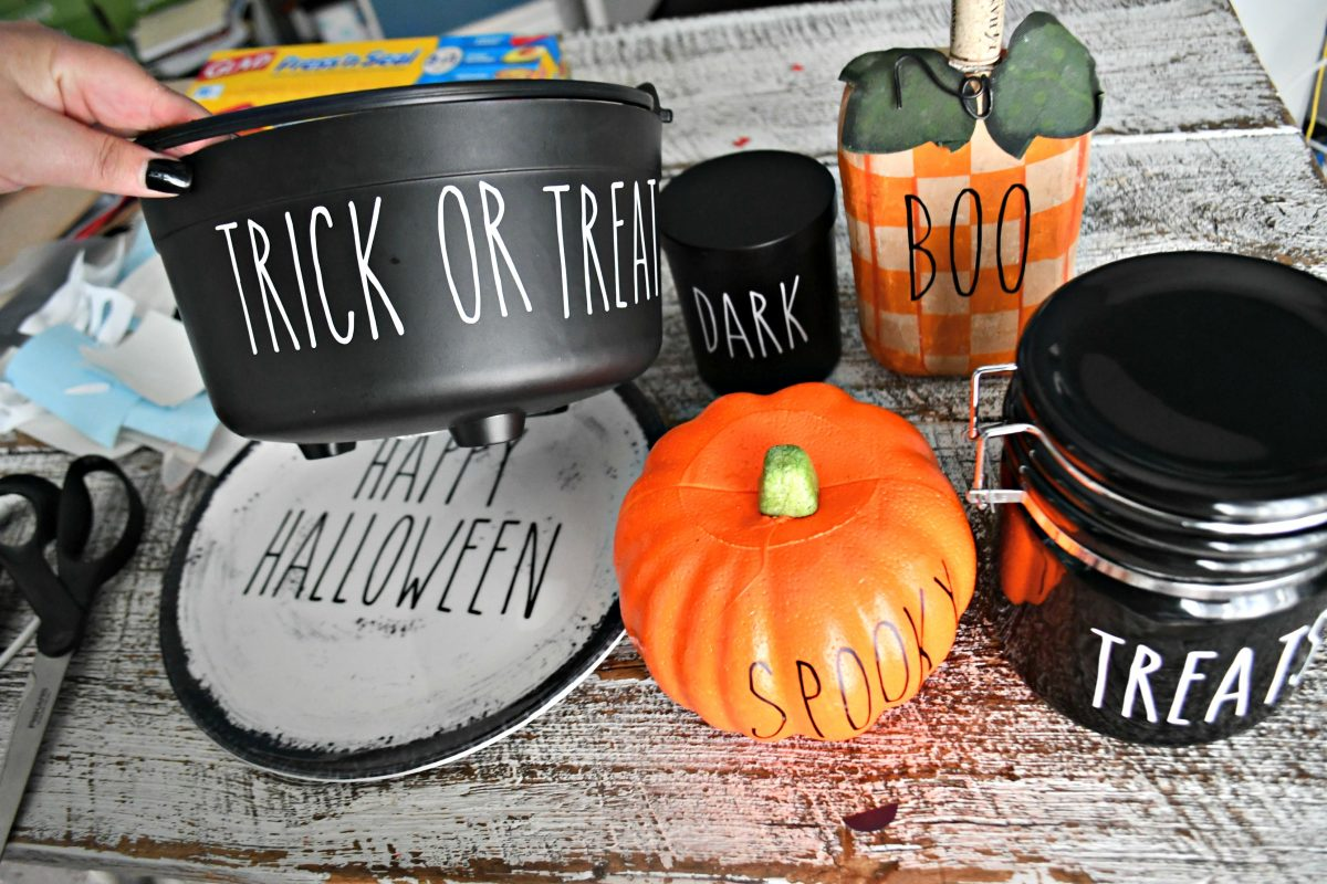 DIY Rae Dunn Inspired Halloween Decorations – Pumpkins, a trick or treat bowl, and a plate