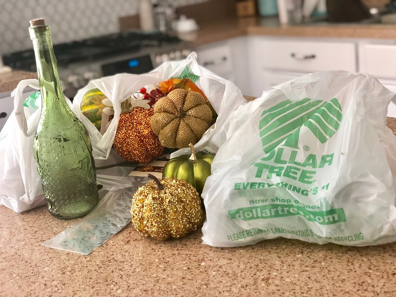 dollar tree fall centerpiece - the items I bought at Dollar tree to make all three looks