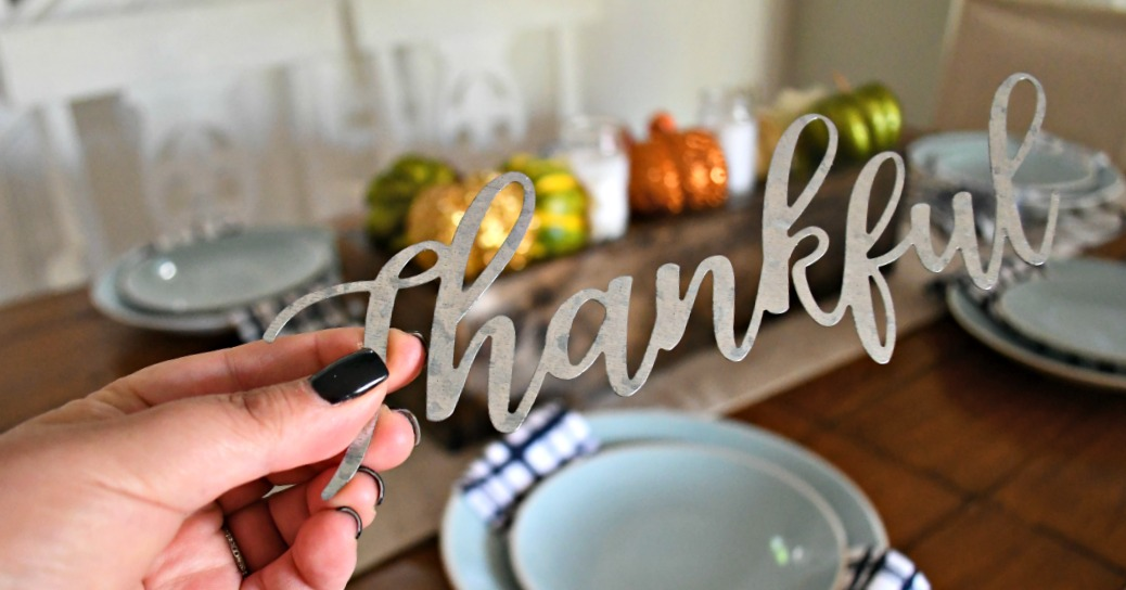 "dollar tree fall centerpiece - one of my looks uses this fun ""thankful"" lettering"