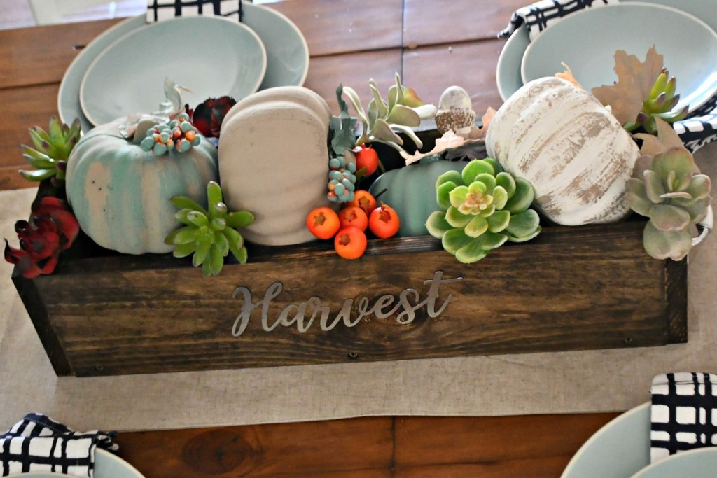 dollar tree fall centerpiece - one of my looks uses chalk painted fall accessories