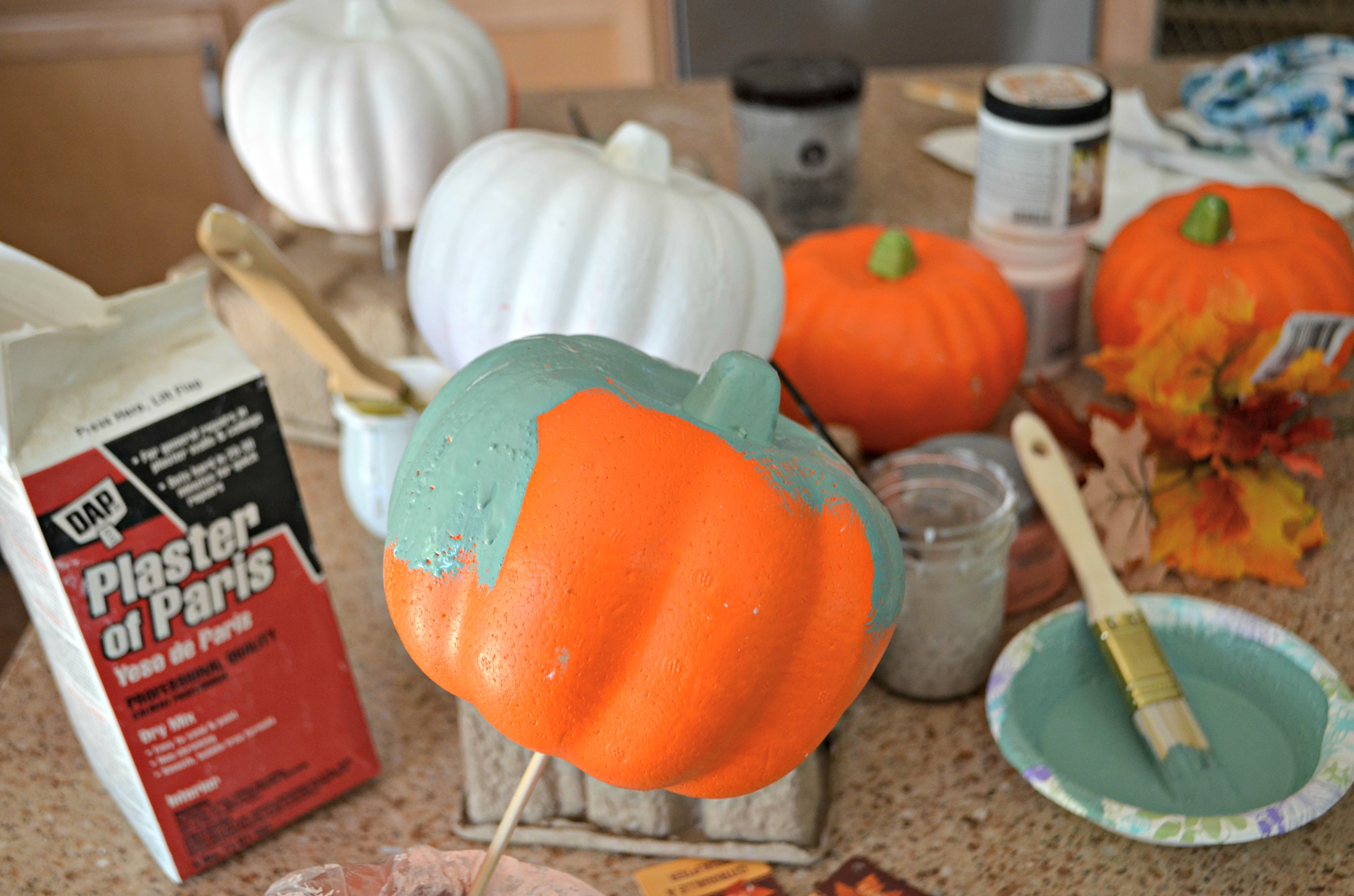dollar tree fall centerpiece - one of my looks uses foam decorator pumpkins painted with chalk paint