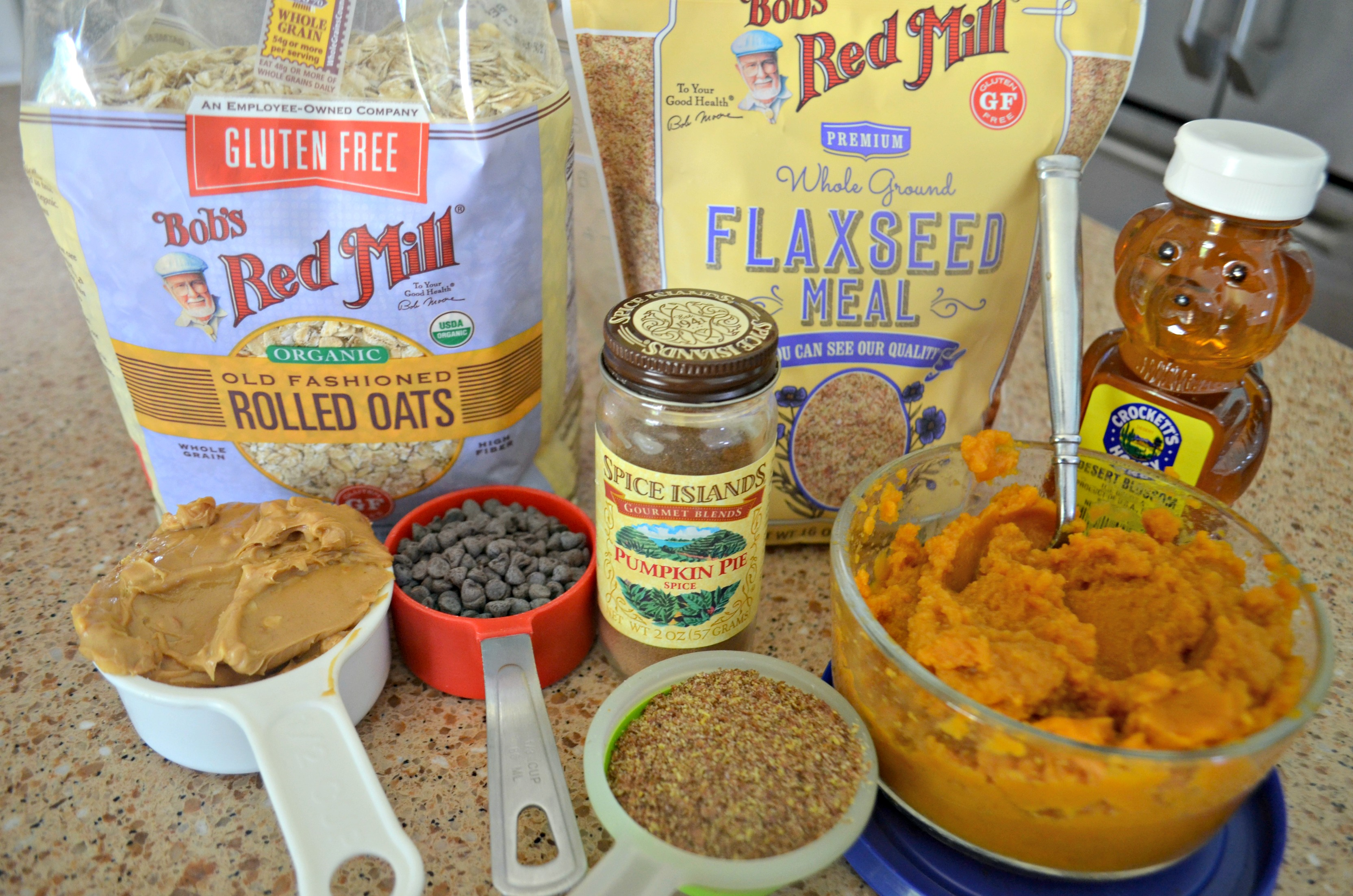 No-Bake Pumpkin Oatmeal Energy Bites ingredients on the counter
