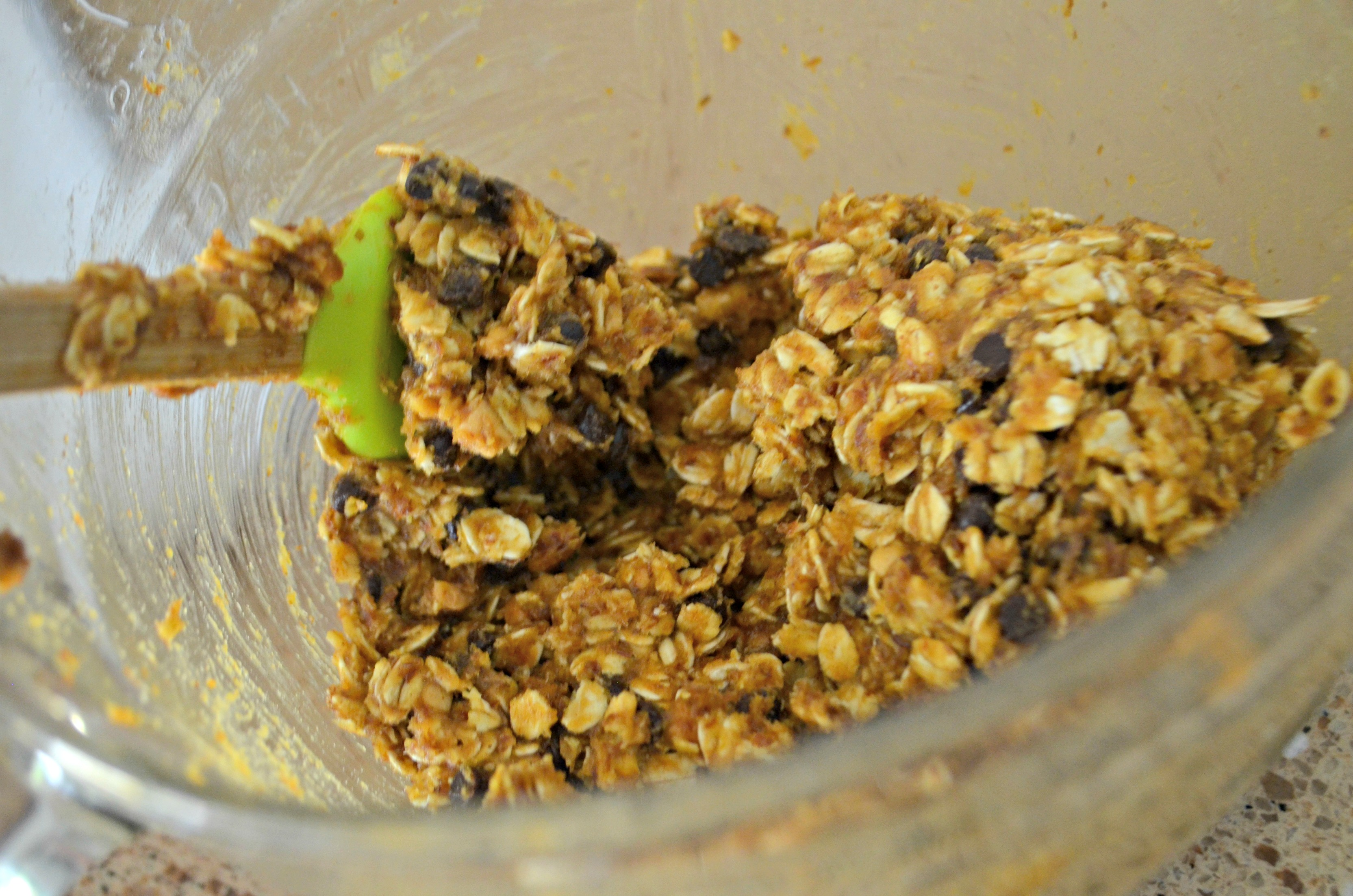 No-Bake Pumpkin Oatmeal Energy Bites ingredients mixed together in a mixing bowl