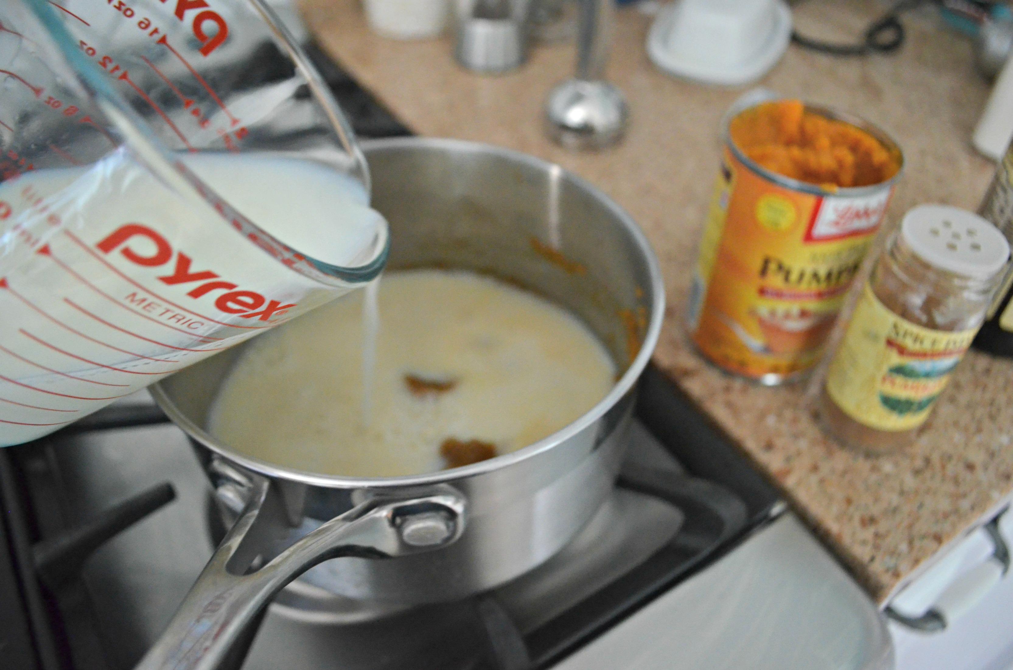 DIY Pumpkin Spice Latte - adding ingredients to a pan