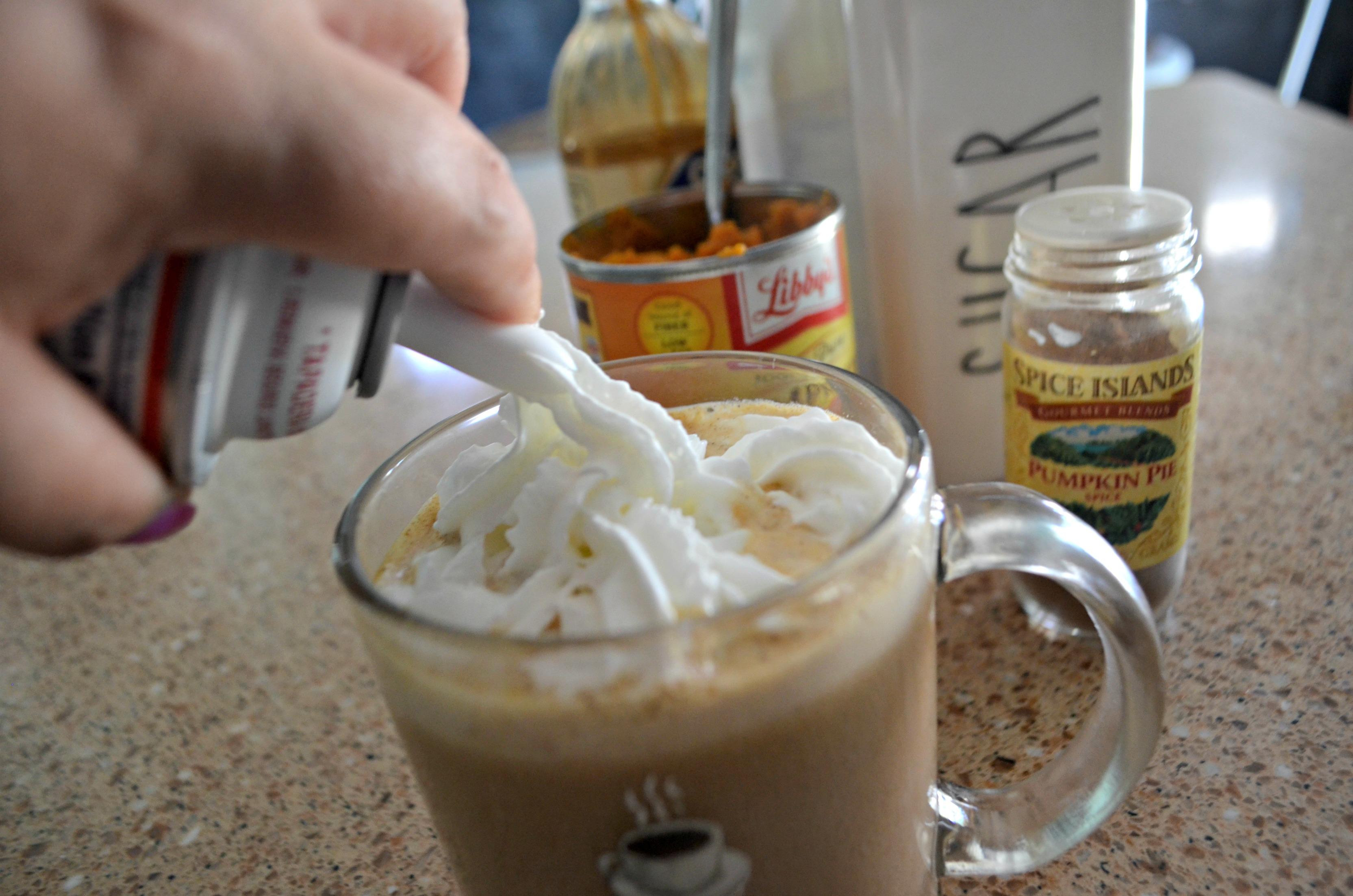 DIY Pumpkin Spice Latte - adding whipped cream on top