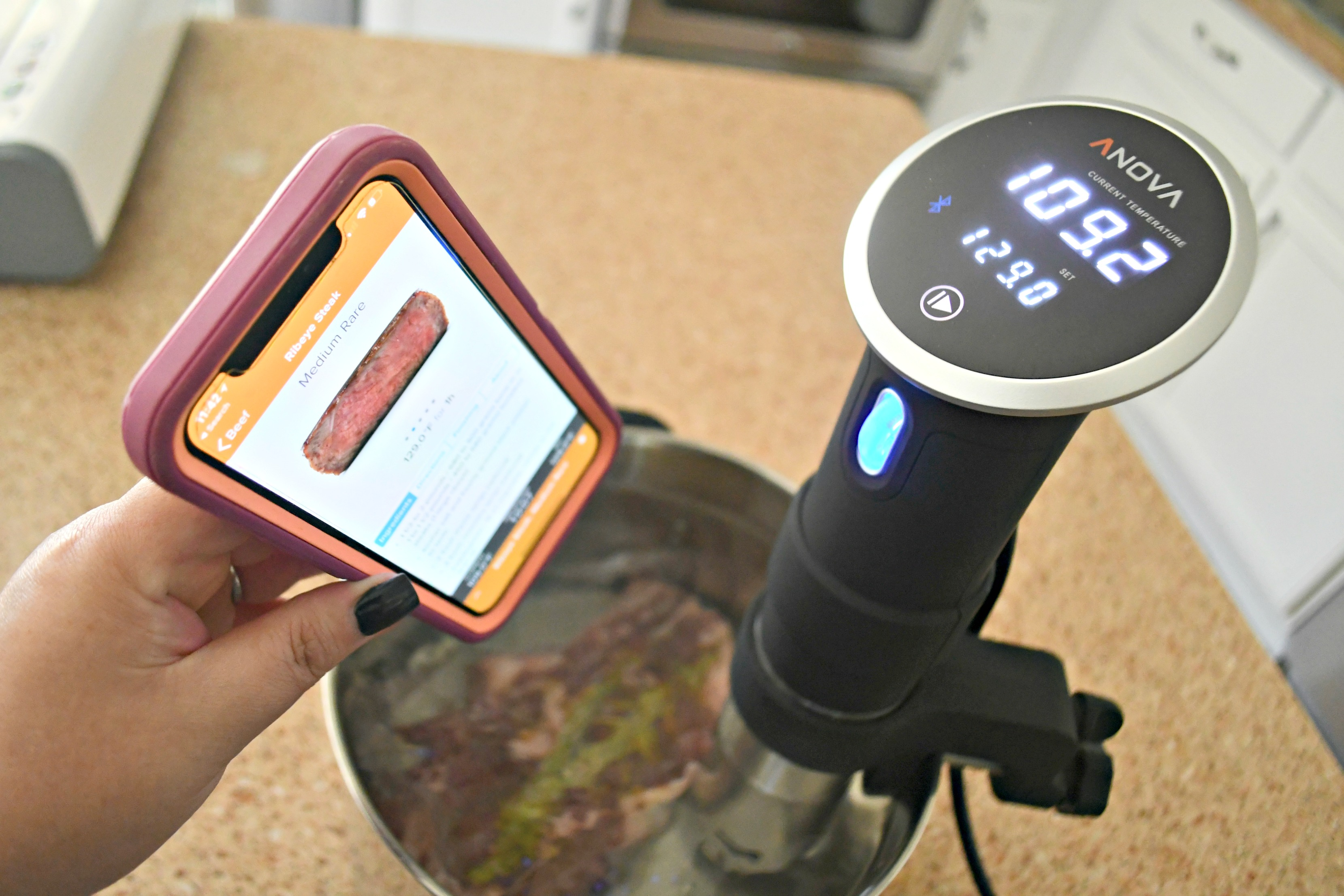 Make the Best Steak Using the Sous Vide method! Pictured here with the Sous Vide app