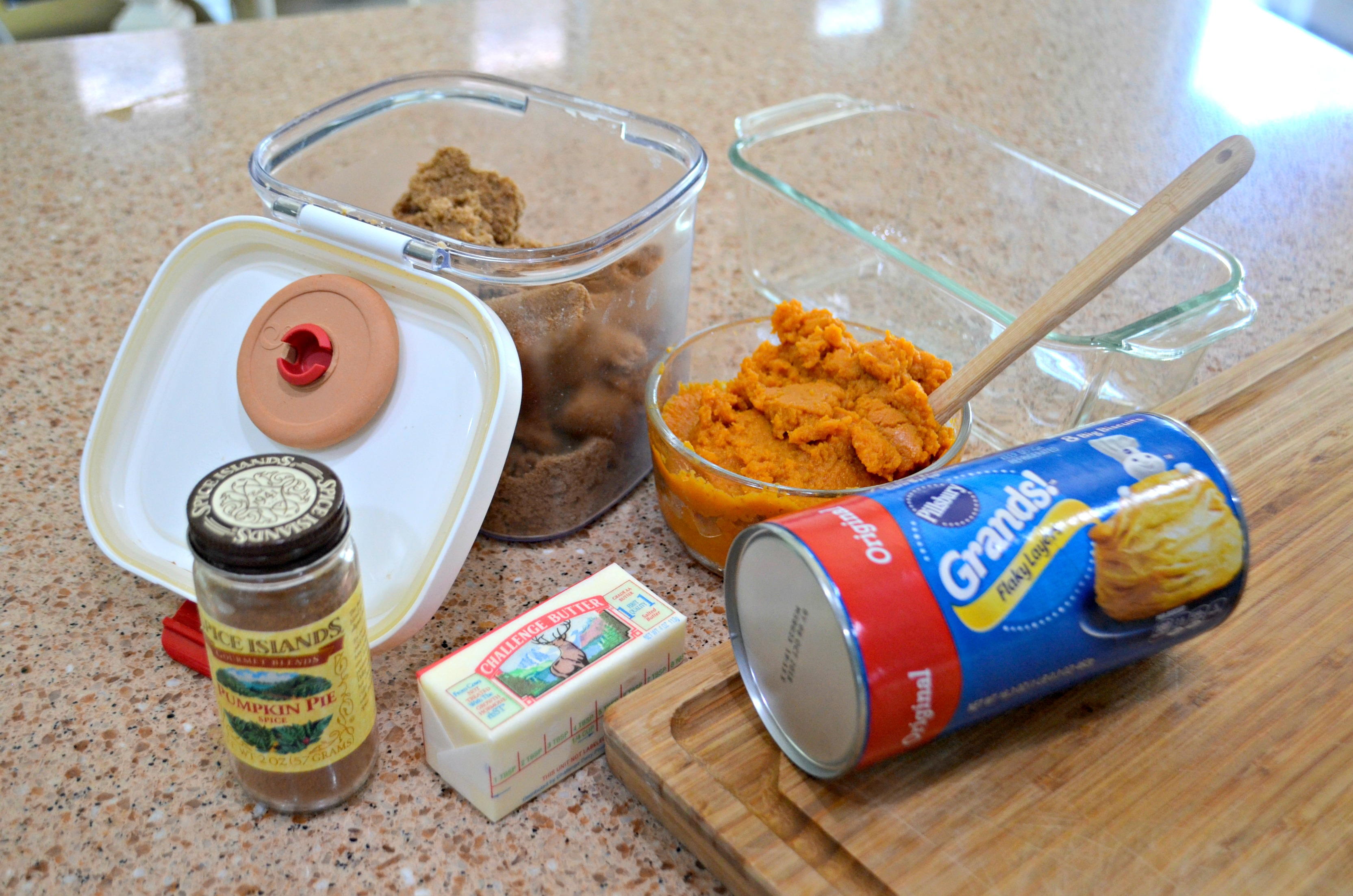 pull apart pumpkin spice loaf ingredients on the counter