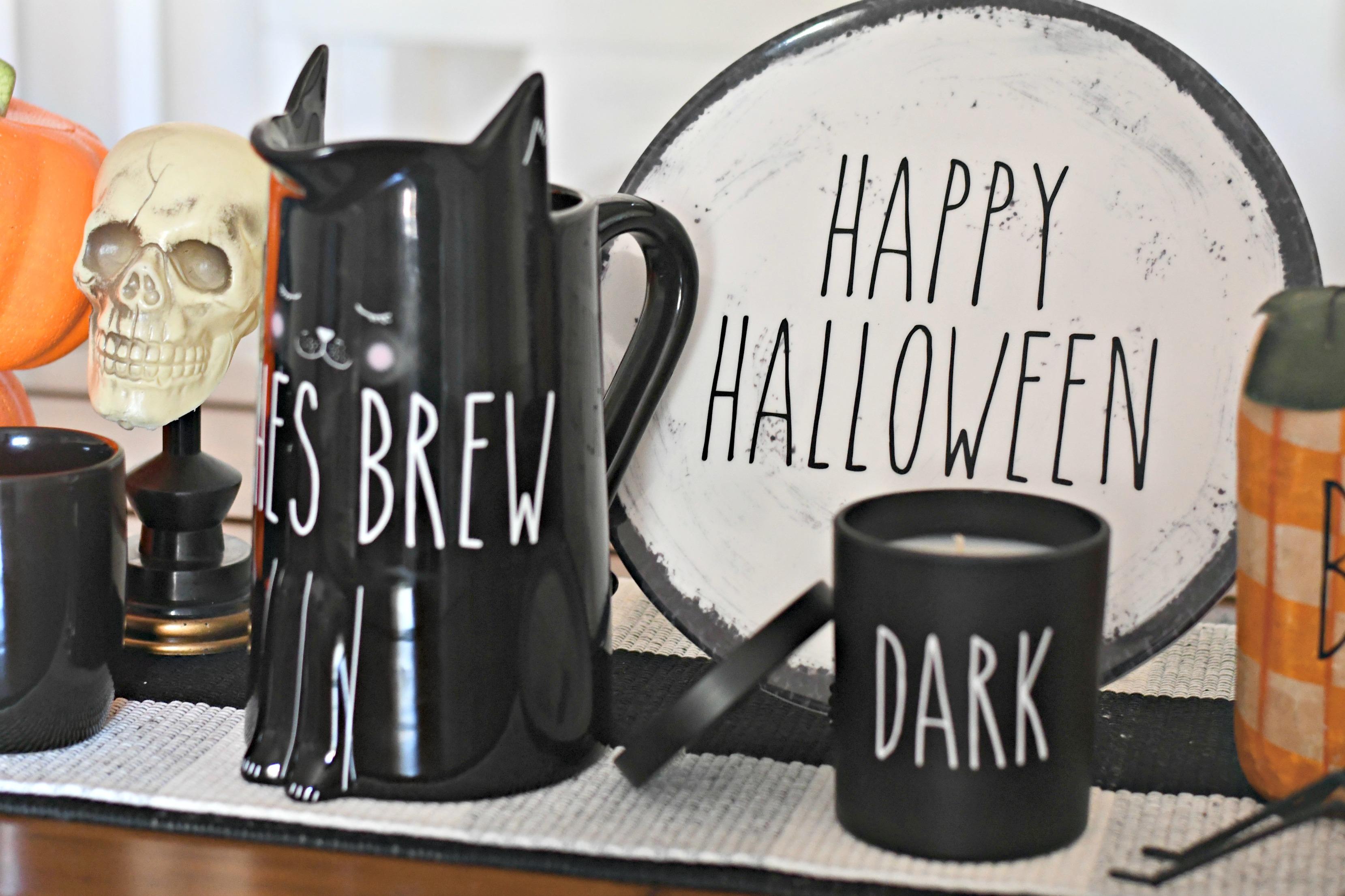 DIY Rae Dunn Inspired Halloween Decor - TJMaxx finds with lettering
