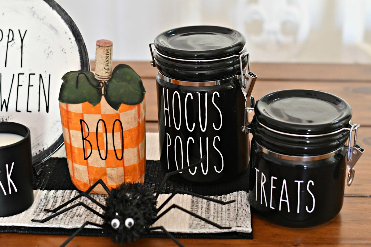 DIY Rae Dunn Inspired Halloween Decor - Goodwill finds with lettering