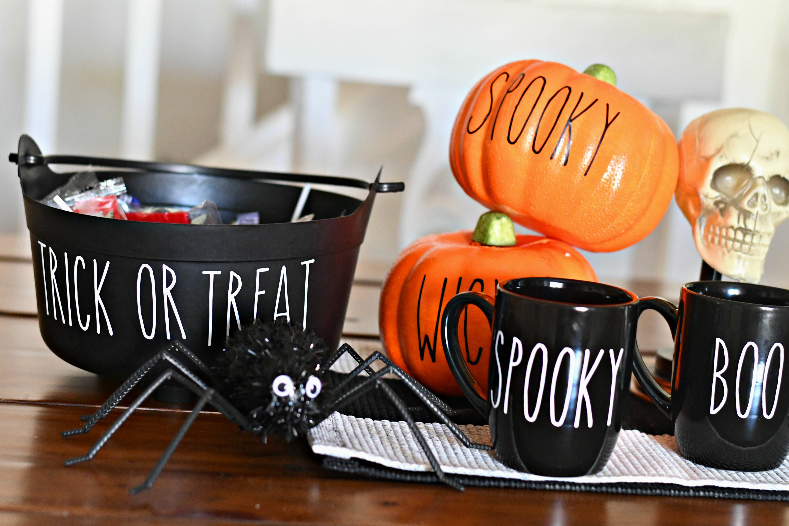 DIY Rae Dunn Inspired Halloween Decor - Finds with lettering