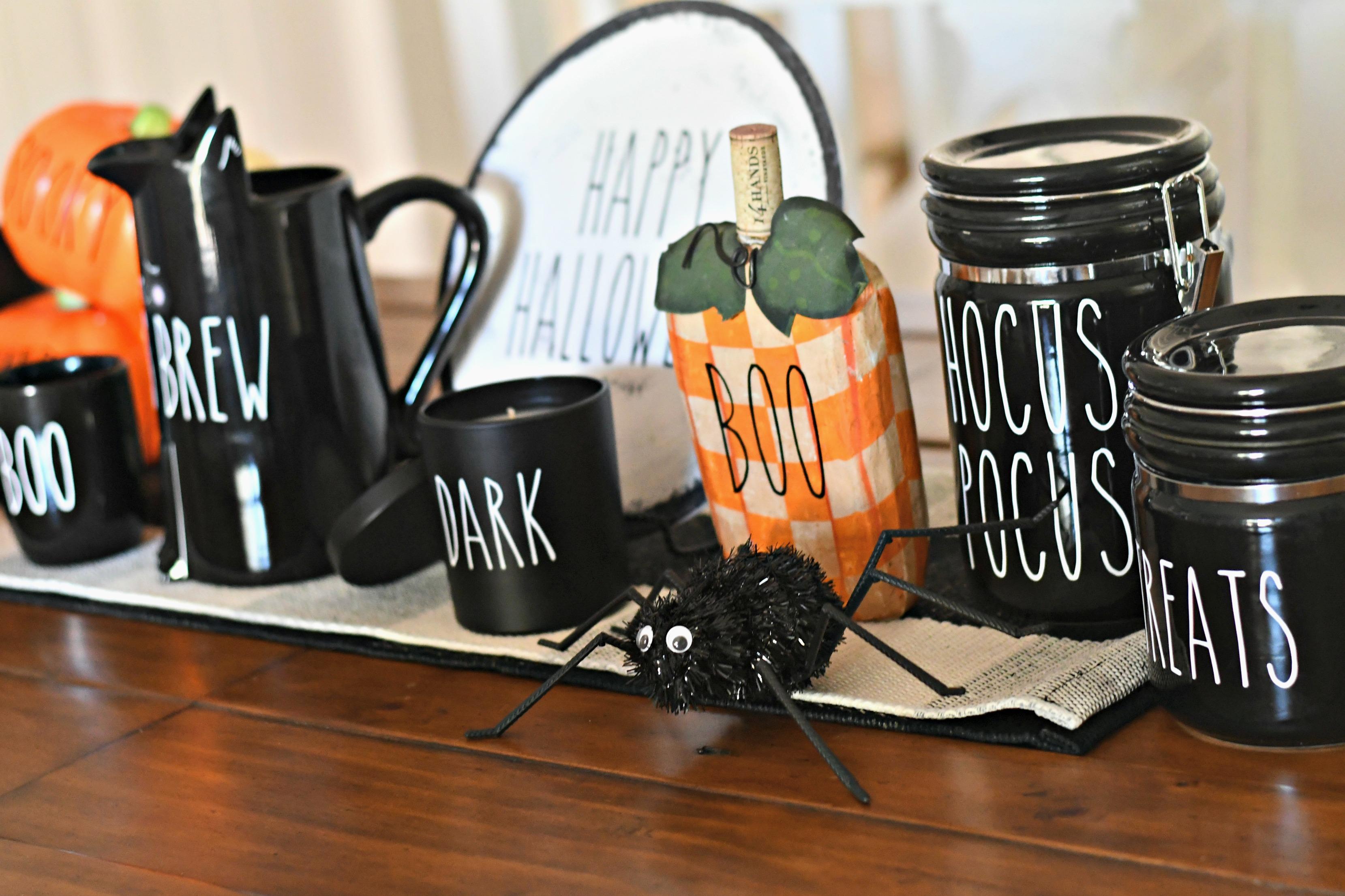DIY Rae Dunn Inspired Halloween Decor - decorating a table runner