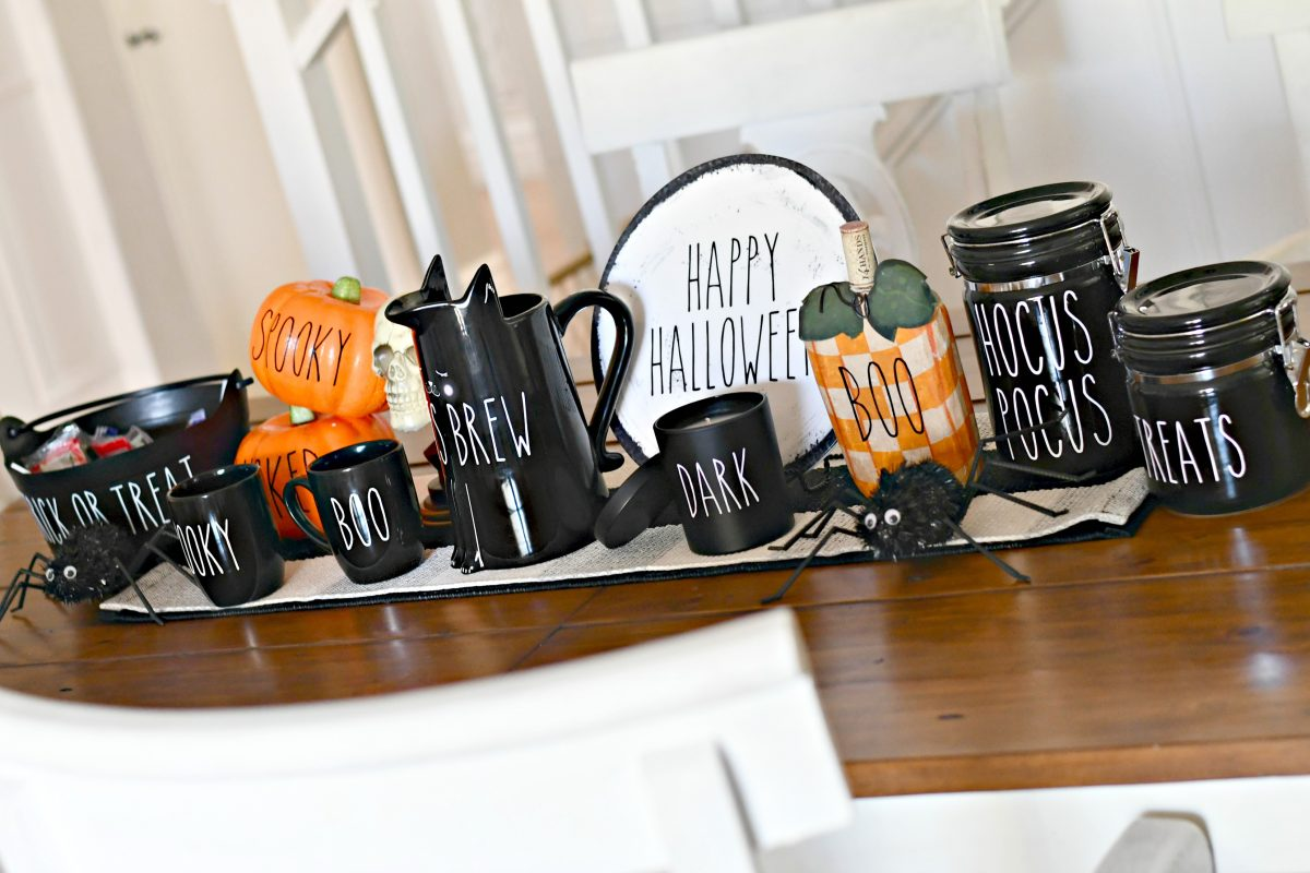 DIY Rae Dunn Inspired Halloween Decorations – Decorating a table runner in the dining room