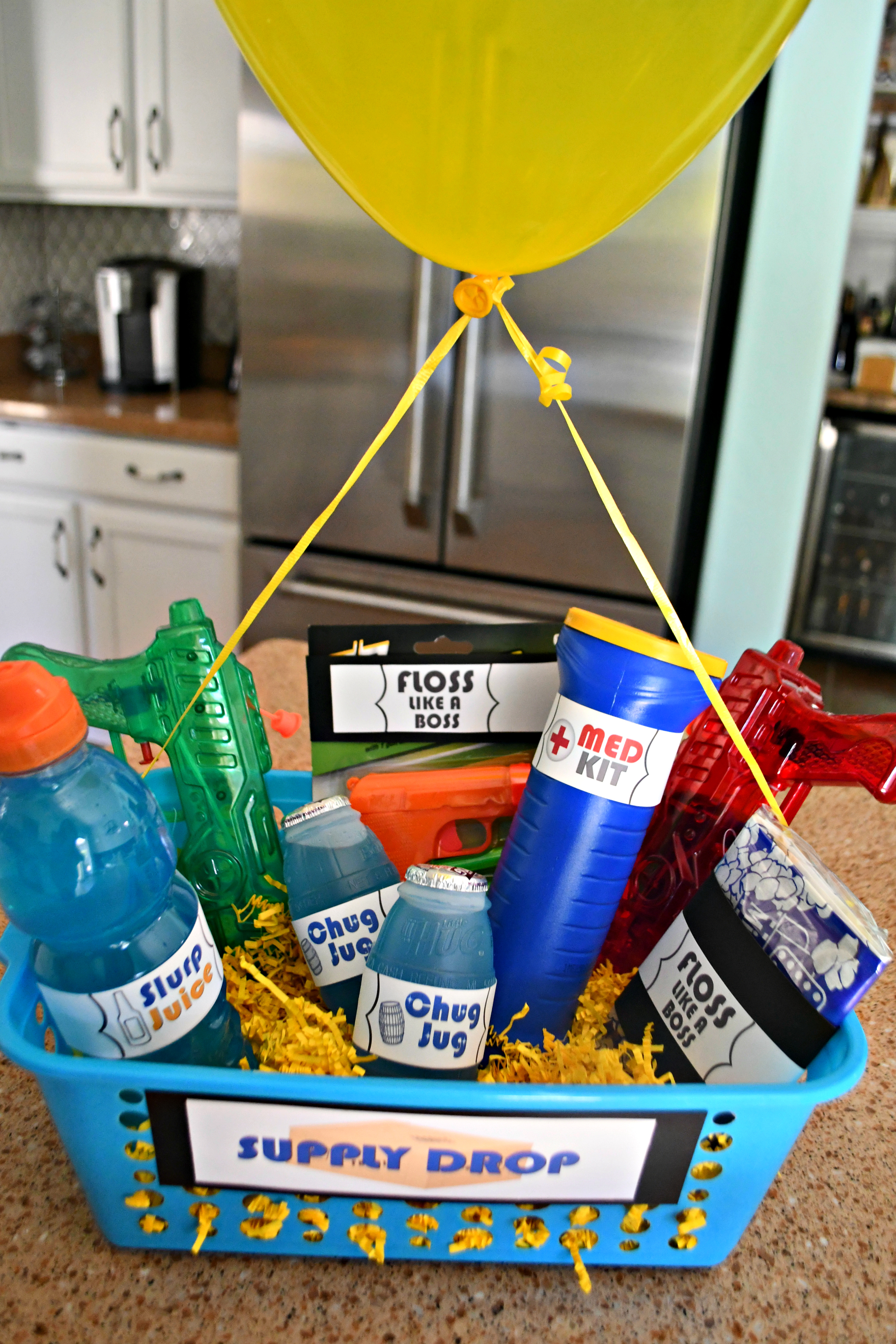 DIY Dollar Tree Fortnite Gift Basket (in the basket with a balloon)