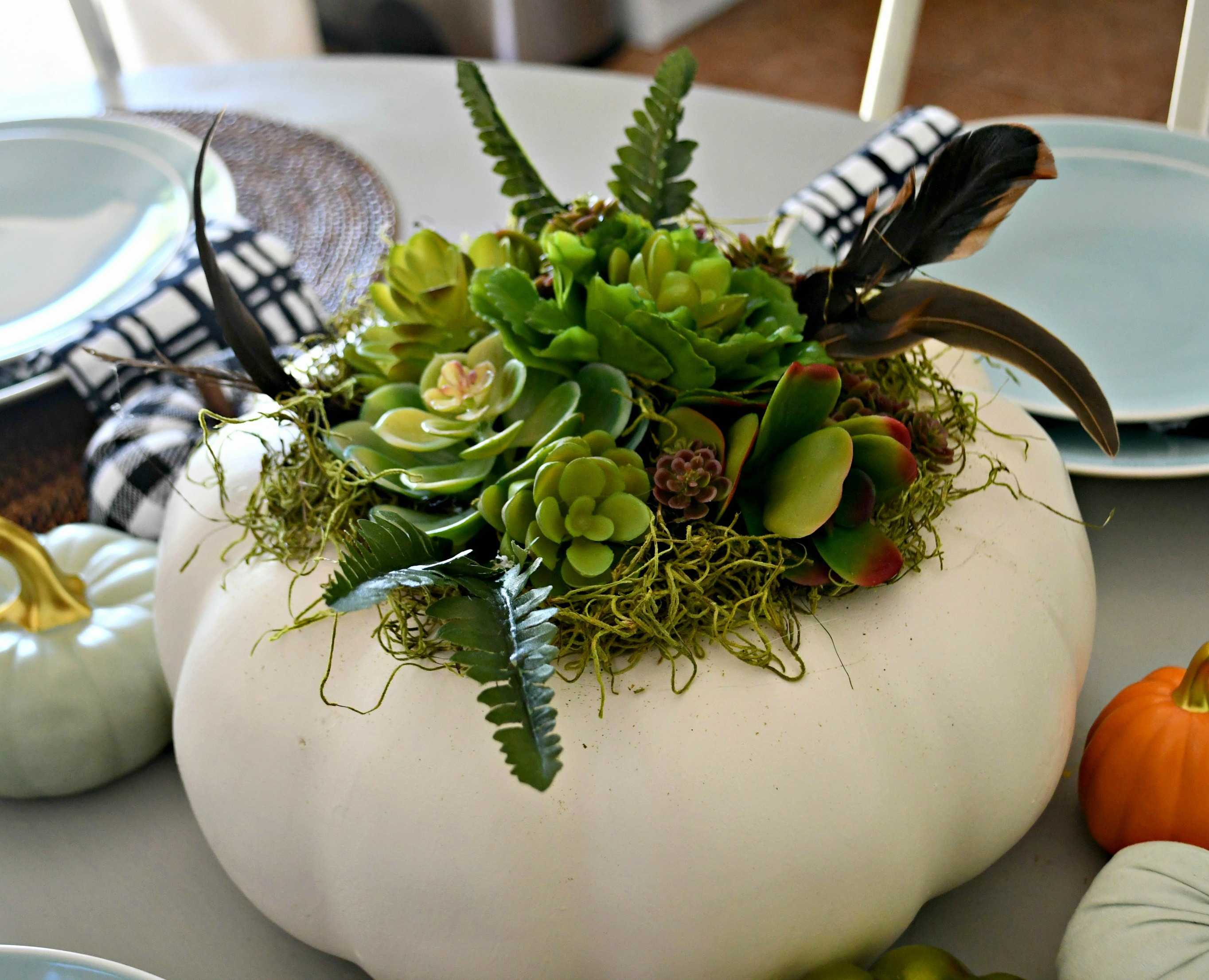 style your fall table with this DIY succulent centerpiece idea - here, a closeup of the finished pumpkin