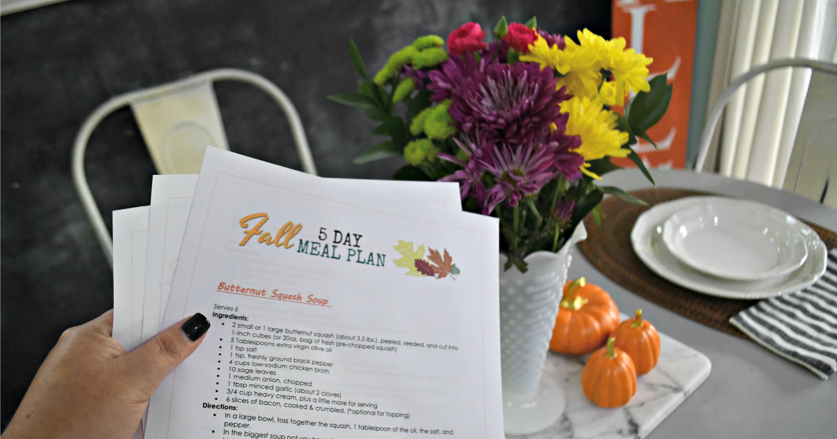FREE Fall Printable Meal Plan and recipes - Here, printed on paper