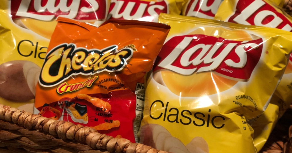 cheetos and lays chips in basket