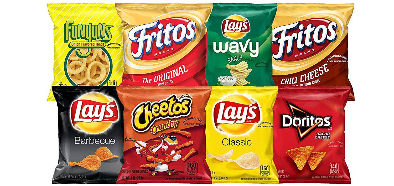 variety of chips including fritos, Doritos and more