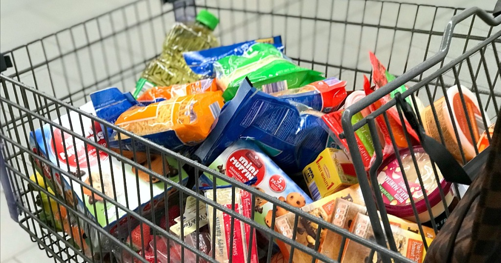 amber's meal planning — full grocery cart at aldi