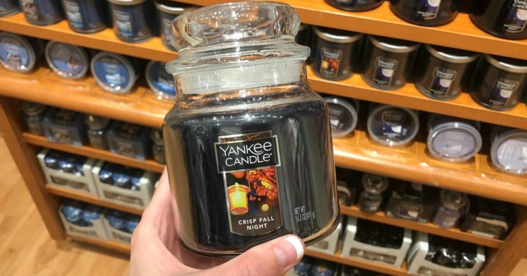 crisp fall night yankee Halloween candle
