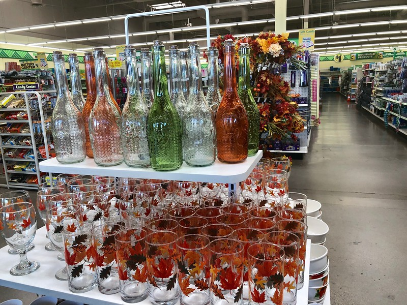 dollar tree fall centerpiece - Dollar Tree glass bottles and glasses