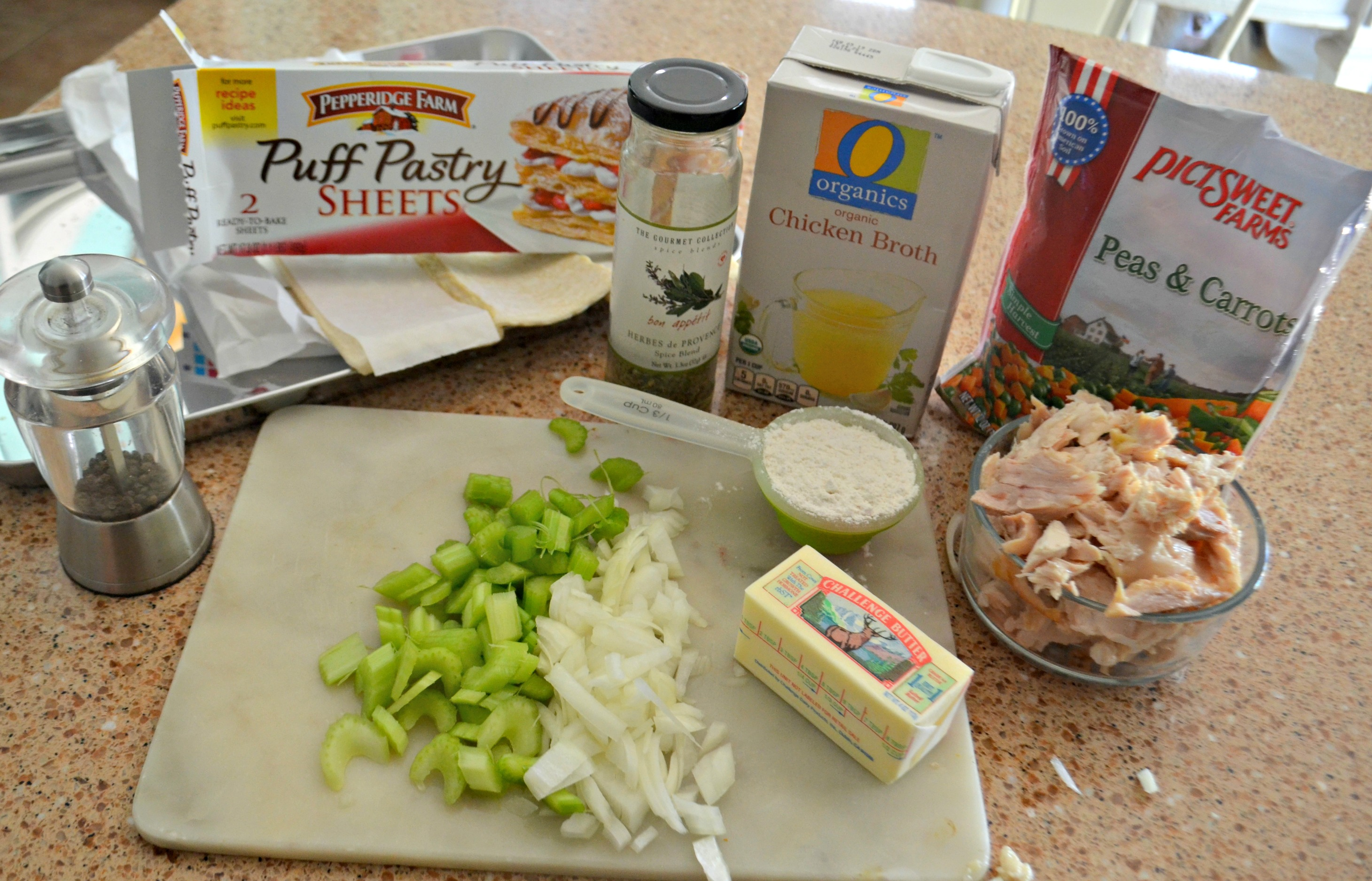 Sheet Pan Chicken Pot Pie - the ingredients on the counter