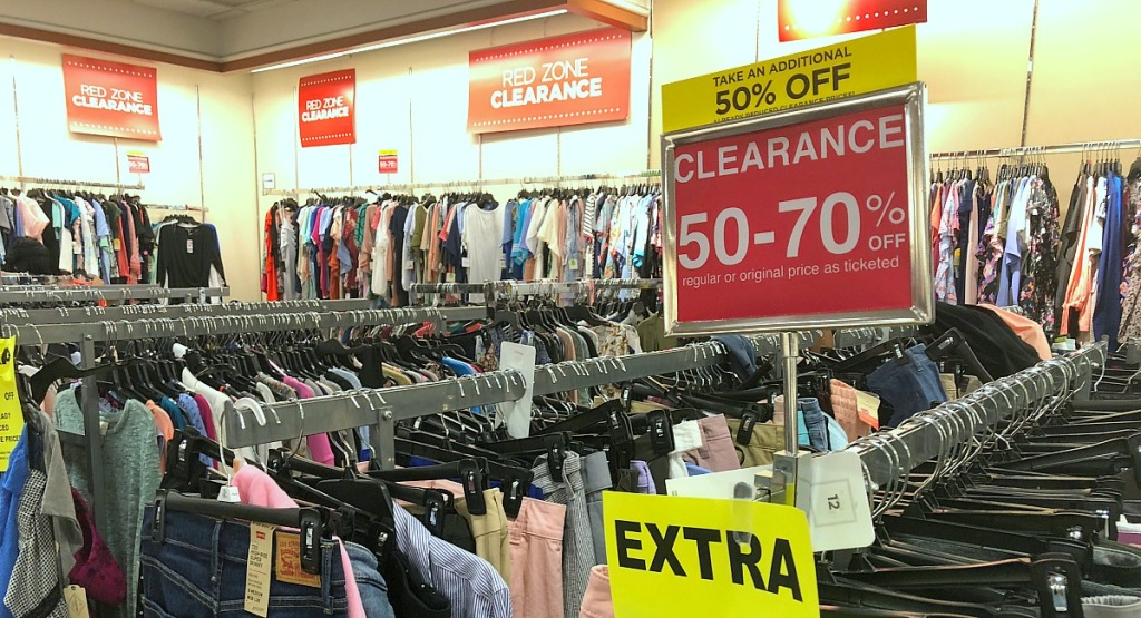 jcpenney shopping tips — clearance section with sale signage