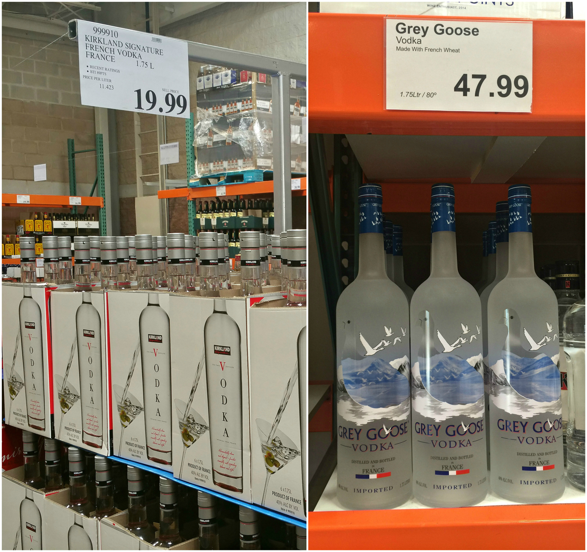name brands sometimes make costco items, like this kirkland liquor