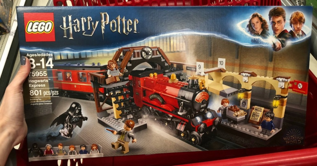 hand holding LEGO Hogwarts express box