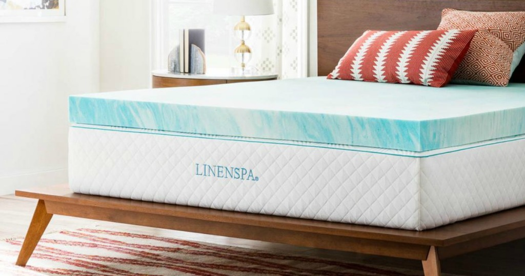 linenspa topper on mattress in bedroom