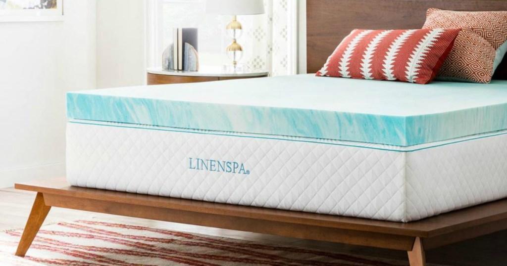 linenspa topper on mattress in bedroom