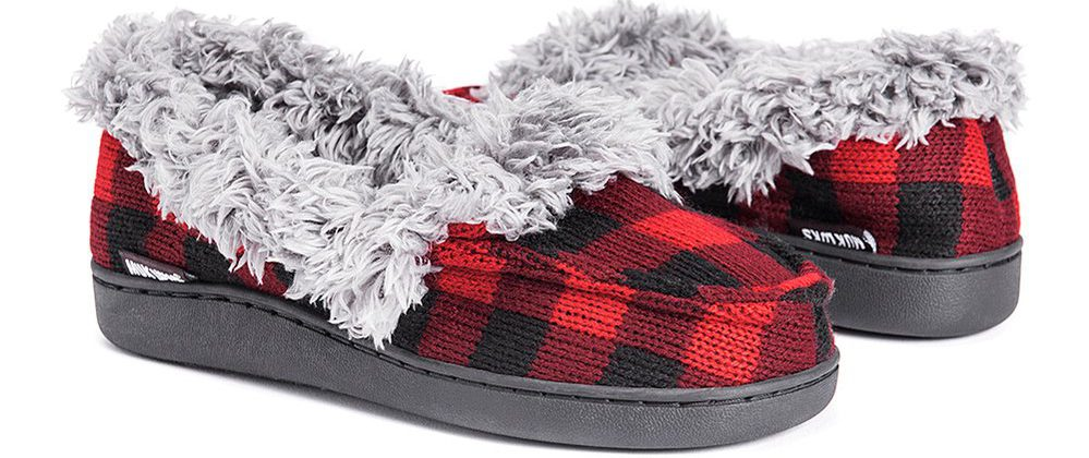red and black plaid muk lucks with grey fur collar
