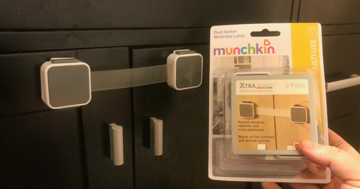 favorite baby proofing products from munchkin – dual-action latch installed on a kitchen cabinet
