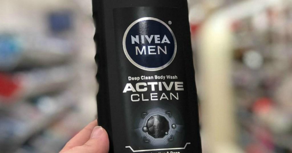 hand holding Nivea Deep Active Clean Body Wash