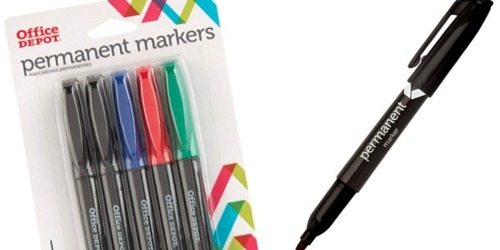 TWO Office Depot Permanent Markers 5-Packs ONLY $1 Or Less