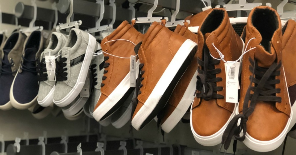old navy boys high tops shoes on rack in store