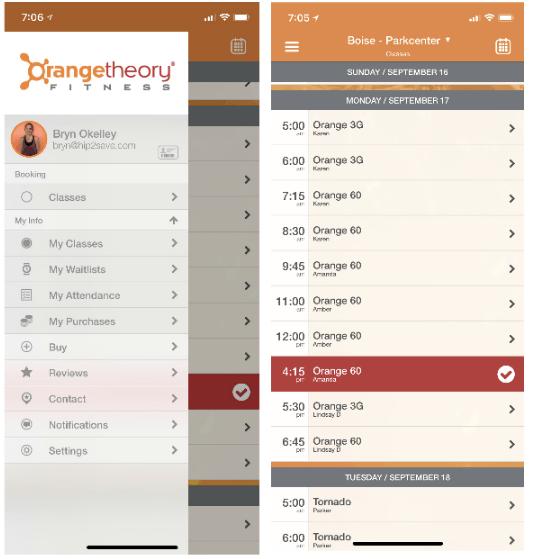orangetheory fitness review – App on Bryn's phone