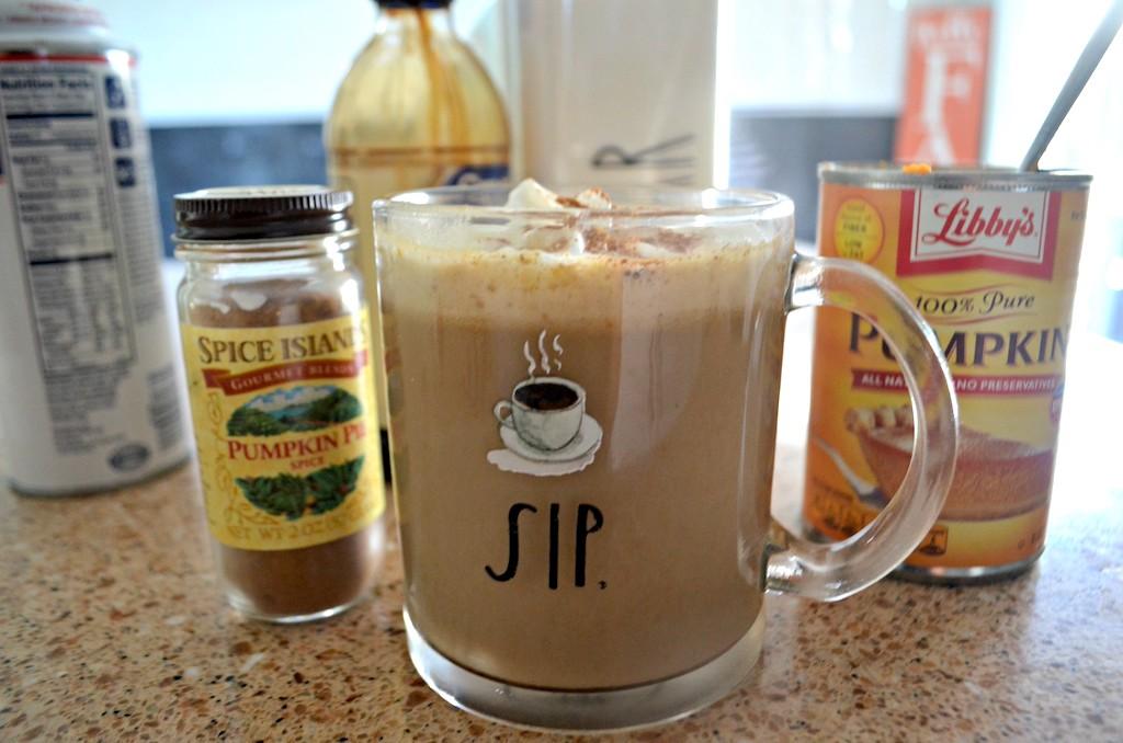 pumpkin spice latte on counter