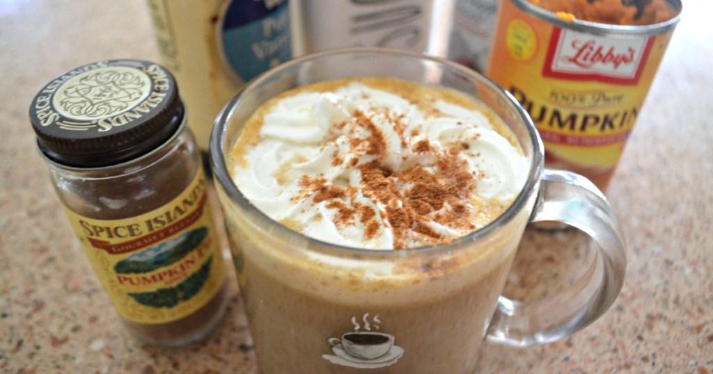 close up of pumpkin spice latte